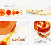 Set of abstract geometric backgrounds. Waves, triangles, lines — Stock Vector