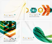 Set of abstract geometric backgrounds. Waves, triangles, lines — Vector de stock