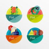 フラットなデザイン サークル インフォ グラフィック アイコンのセット — ストックベクタ