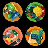 Insieme di concetti di design piatto cerchio opzione infographics — Vettoriale Stock