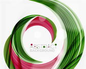 Vector green swirl line abstract background — Stock Vector