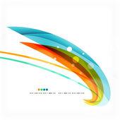 Blue, orange, red swirl wave lines. Light design — Stock Vector
