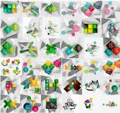 Mega collection of geometric paper style banners — Stock Vector