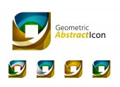 Set of abstract geometric company logo square, rhomb — Stock Vector