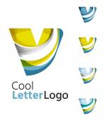 Set of abstract V letter company logos. Business icons, overlapping flowing waves — Stock Vector