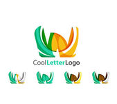 Set of abstract W letter company logos. Business icons, overlapping flowing waves — Stock Vector