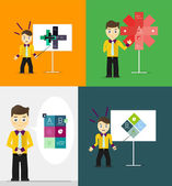 Young businessman presents his modern option infographic diagram. Set of illustrations — Stock Vector