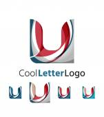 Set of abstract U letter company logos. Business icons, overlapping flowing waves — Stock Vector