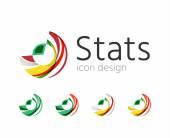 Statistieken bedrijf logo set. Vectorillustratie — Stockvector