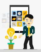Mobile app startup idea. Young businessman showing growing plant of light bulbs — Stock Vector