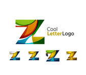 Set of abstract Z letter company logos. Business icons, overlapping flowing waves — Stock Vector