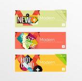 Set van banners met stickers, — Stockvector