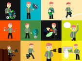 Set of businessmen pose character — Stock Vector