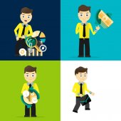 Set of businessman pose character concepts — Stock Vector