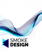 Color smoke wave on white - design element — Stock Vector