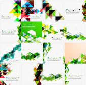 Set of triangle geometric abstract backgrounds — Stock Vector