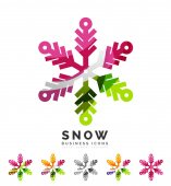 Set of abstract colorful snowflake logo icons, winter concepts, clean modern geometric design — Stock Vector