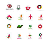 Set of abstract travel logo icons. Business, app or internet web symbols — Stock Vector