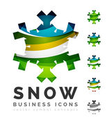 集抽象多彩雪花标志图标、 冬天概念、 清洁的现代几何设计 — 图库矢量图片