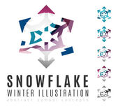 Set of abstract colorful snowflake logo icons — Stock Vector