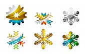 Set of abstract colorful snowflake logo — Stock Vector