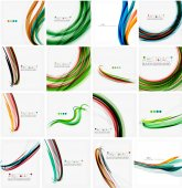 Set of colorful flowing motion abstract backgrounds. Smooth futuristic wave layouts — Stock Vector