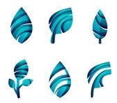 Zestaw ikon liść streszczenie eco, — Wektor stockowy