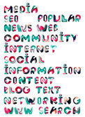 Social media in the internet - words, tags — Stock Vector