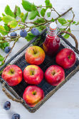 Apple plums juice — Stock Photo