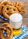 Pretzels and beer — Stock Photo