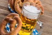 Pretzels and beer — Stock Photo