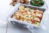 Jerusalem artichoke, gratin with ham and chili — Foto Stock