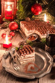 Christmas Tiramisu on table — Photo