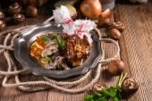 Grilled ribs with potato pancakes — Stock Photo