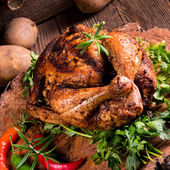 Baked Chicken with herbs — Stock Photo