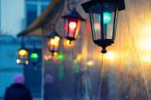 Multi-colored lights on Christmas Fair — Stock Photo