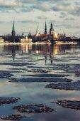 Panorama z Rigy na jaře Rigy — Stock fotografie