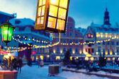 Yellow and green lights on the background of the old town and bl — Foto de Stock