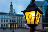 Yellow light on the background of the Town Hall in Riga — Stock Photo