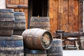 Antique oak barrels with steel hoops — Stock Photo