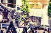 Bicycles with interwoven ropes on a summer day — ストック写真