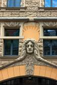 Famous stucco facades in the old town of Riga — Stock Photo