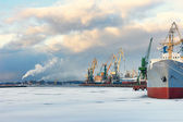Ship and cranes in the port of winter — Stock Photo