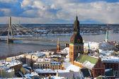 Panorama of Riga Bridge from the air in winter — Stock Photo