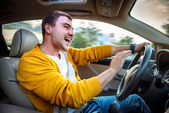 Angry aggressive driver beep and shouts in the car. Road rage concept. — Stock Photo