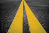 Asphalt highway with yellow markings lines on road  background — Stock Photo