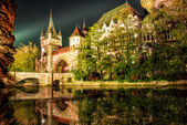 Vajdahunyad castle at the night with lake in Budapest, Hungary — Zdjęcie stockowe