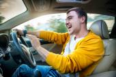 Concept photo of unsafe and dangerous car driving — Stock Photo