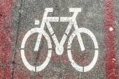 Bicycle sign path on the road — Fotografia Stock