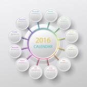 The 2016 calendar — Stock Vector